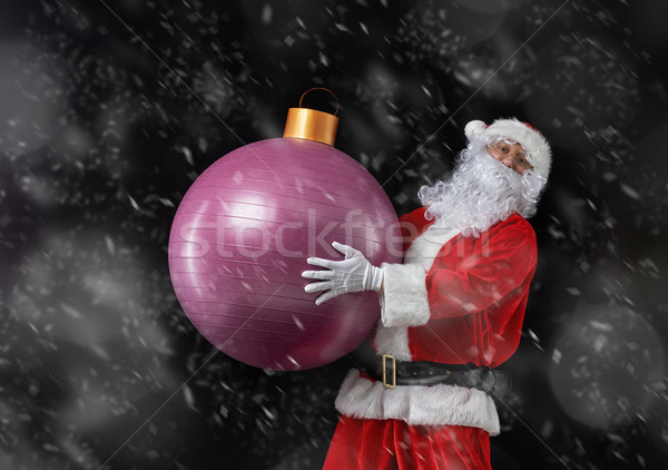 Santa Claus with Christmas bauble Stock photo © choreograph