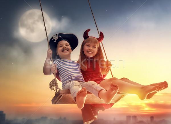 happy children on Halloween Stock photo © choreograph