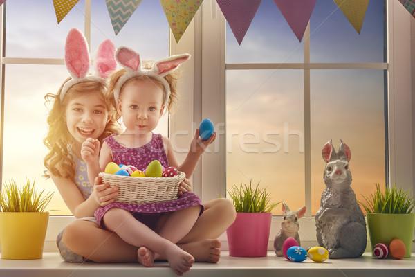 Stock fotó: Gyerekek · visel · nyuszi · fülek · kettő · aranyos
