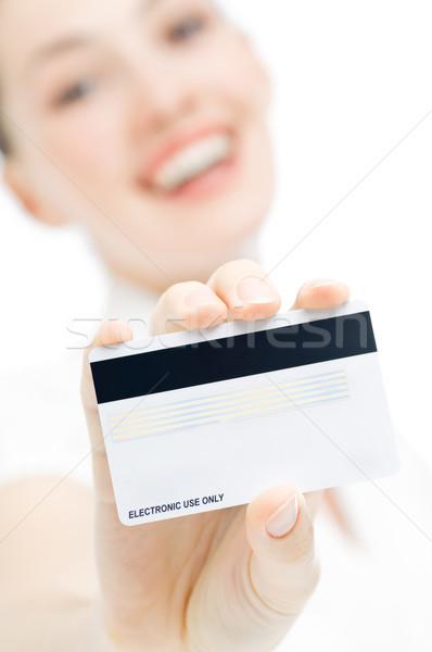 Cartão de crédito mulher jovem novo cara compras Foto stock © choreograph