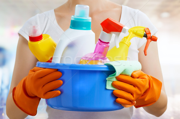 Huisvrouw vrouw pack werk dienst kleur Stockfoto © choreograph