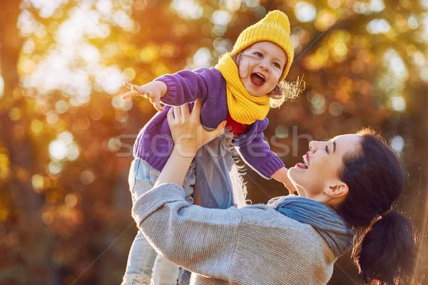 Stock fotó: Család · ősz · séta · boldog · család · anya · lánygyermek