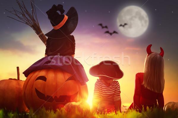 Gyerekek tökök halloween boldog fivér kettő Stock fotó © choreograph