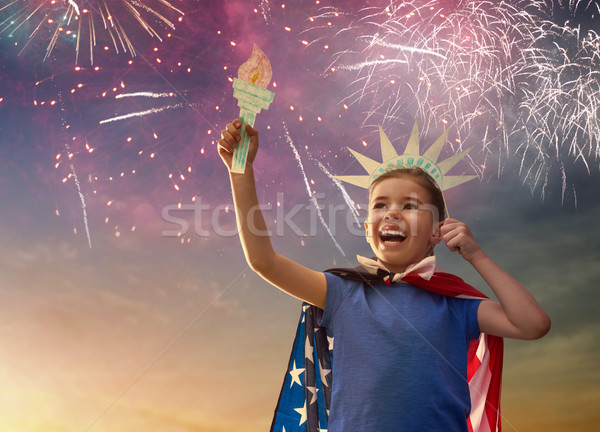 Patriotic holiday. Happy kid Stock photo © choreograph