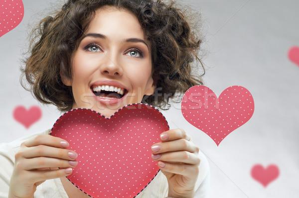 Amore lettera bella ragazza cuore sorriso Foto d'archivio © choreograph