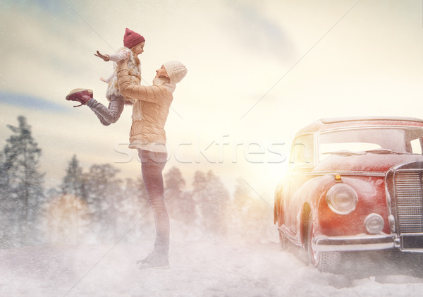Mother, child and vintage car Stock photo © choreograph