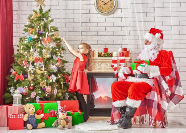 Stockfoto: Kerstman · cute · meisje · klaar · christmas · home