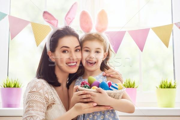 Сток-фото: семьи · праздновать · Пасху · матери · дочь · Живопись