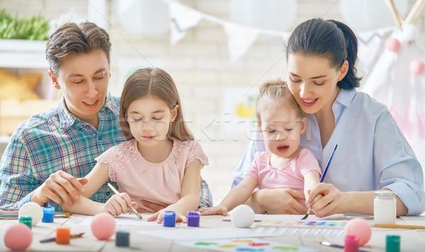 Anne Baba Boyama Mutlu Aile Birlikte Yetişkin Stok