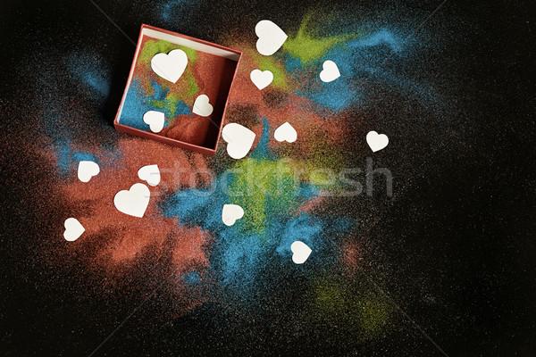 Színes homok fehér szívek sötét szeretet Stock fotó © choreograph