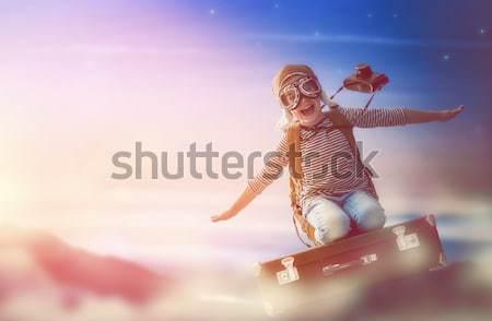 Stock fotó: Gyerek · szárnyak · madár · kislány · kint · gyermek