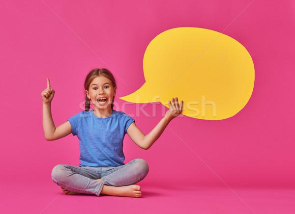 girl with cartoon speech Stock photo © choreograph