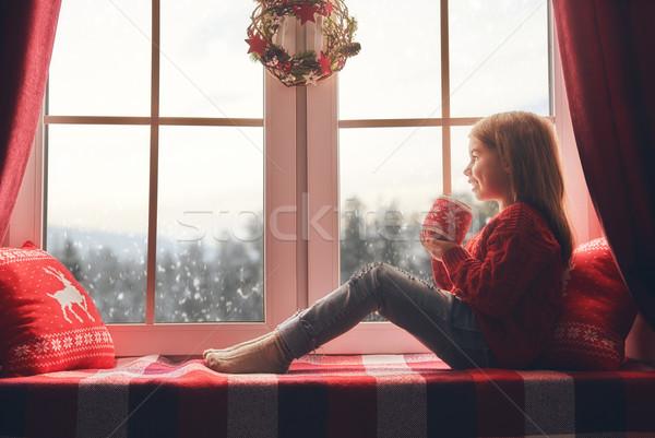 Lány ül ablak vidám karácsony boldog Stock fotó © choreograph