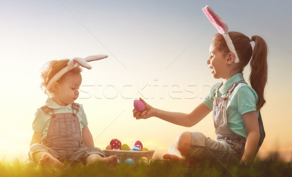 Kids with Easter eggs Stock photo © choreograph