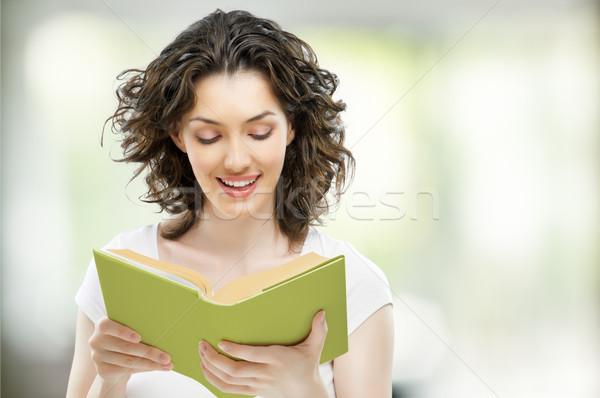 Nagy könyv fiatal gyönyörű lány olvas nő Stock fotó © choreograph