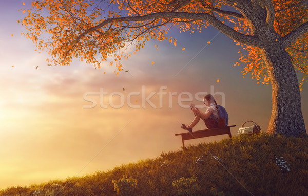 çocuk okuma kitap ağaç okula geri mutlu Stok fotoğraf © choreograph