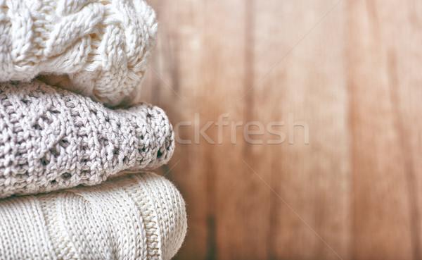 stack of knitting clothes Stock photo © choreograph