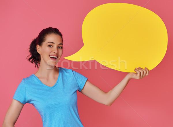 Mujer Cartoon discurso hermosa colorido Foto stock © choreograph