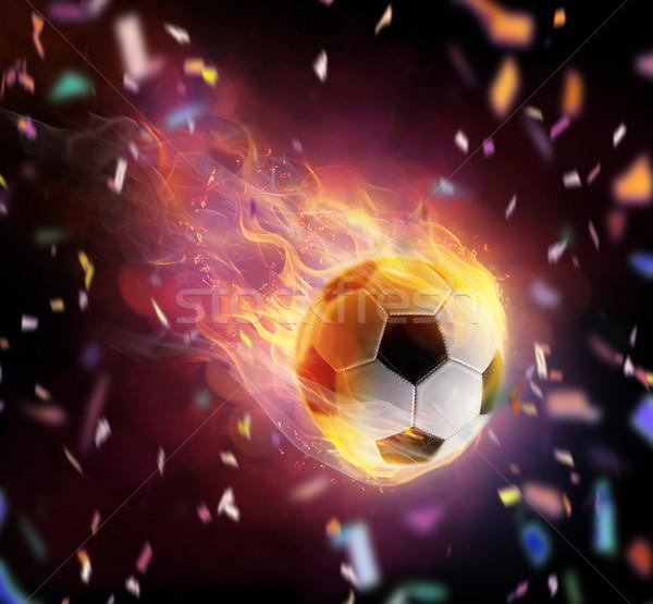 футбола мяча символ ярко черный огня Сток-фото © choreograph