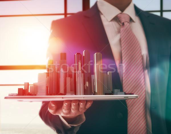 Model stad zakenman gebouw succes Stockfoto © choreograph
