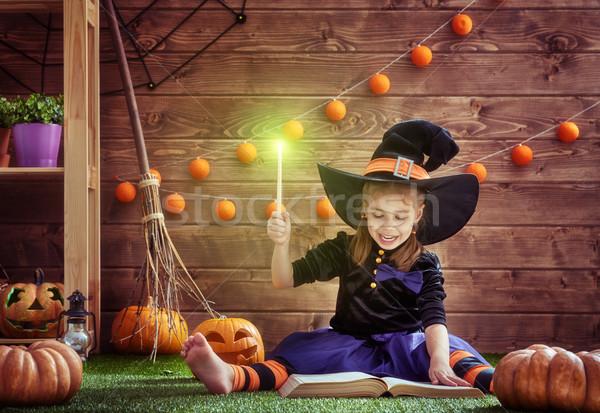 Bruja varita mágica feliz halloween cute alegre Foto stock © choreograph