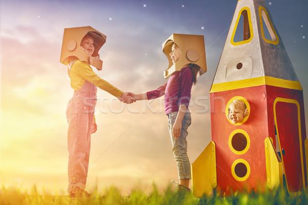 Children in astronauts costumes Stock photo © choreograph