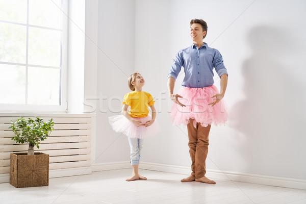 Daddy kind spelen gelukkige vadersdag vader dochter Stockfoto © choreograph