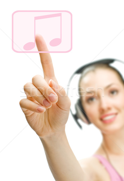 Dziewczyna słuchawki biały uśmiech technologii piękna Zdjęcia stock © choreograph