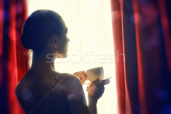 芳香族の コーヒー 女性 手 ボディ 光 ストックフォト © choreograph