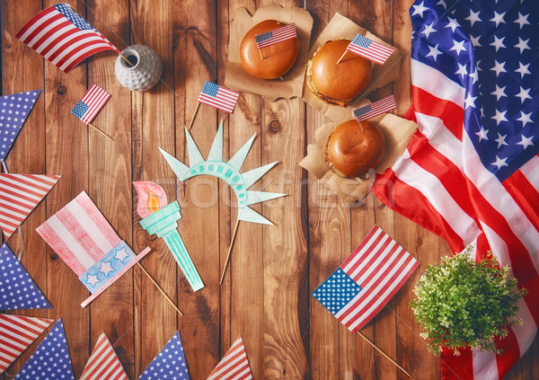 American flag on the table Stock photo © choreograph
