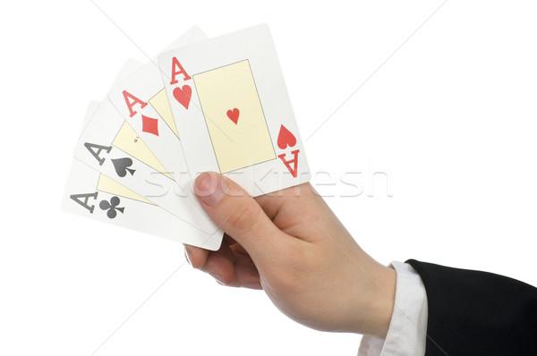 Kártyapakli kéz tart új háttér jókedv Stock fotó © choreograph