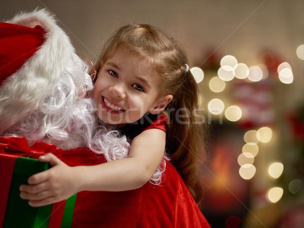 Stockfoto: Kerstman · glimlachend · meisje · huis · home