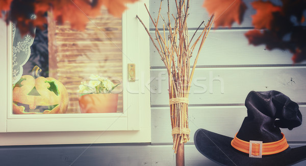 window decorated for the halloween Stock photo © choreograph