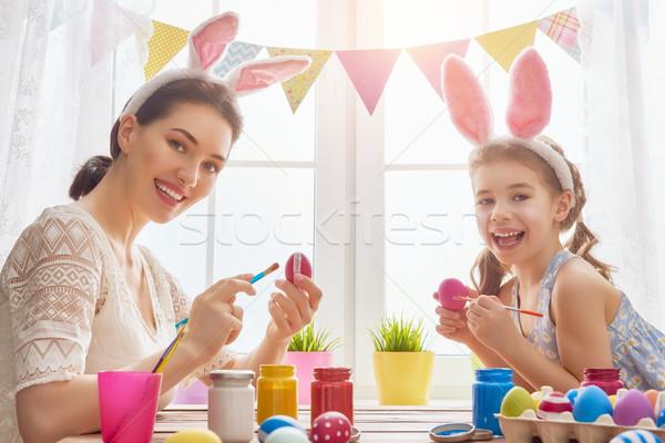 Stock photo: family preparing for Easter