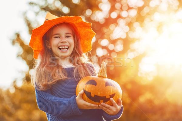 children play with pumpkin Stock photo © choreograph