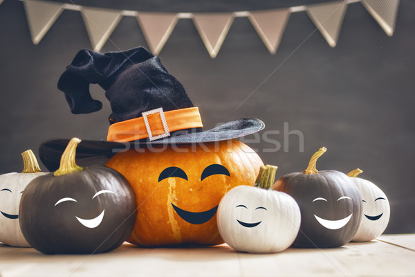 Pumpkins on white table Stock photo © choreograph