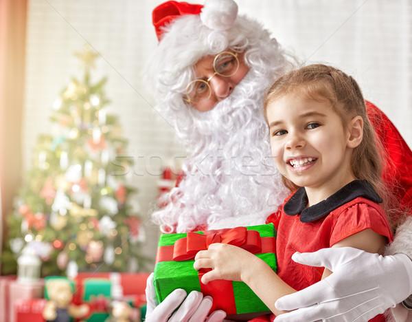 Дед Мороз девочку настоящее мало Cute девушки Сток-фото © choreograph