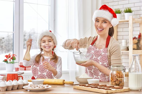 Cocina Navidad galletas madre hija mujer Foto stock © choreograph