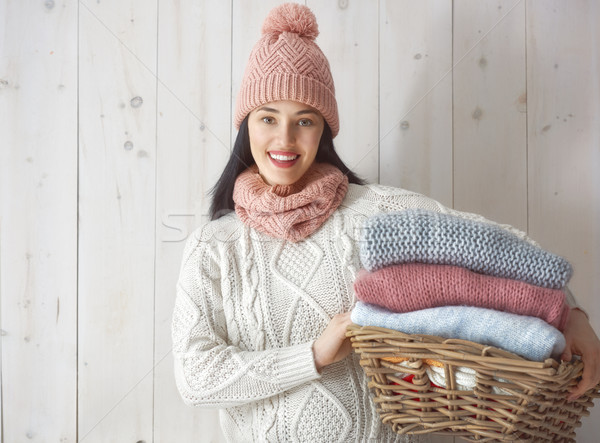 Winter portrait of young woman Stock photo © choreograph