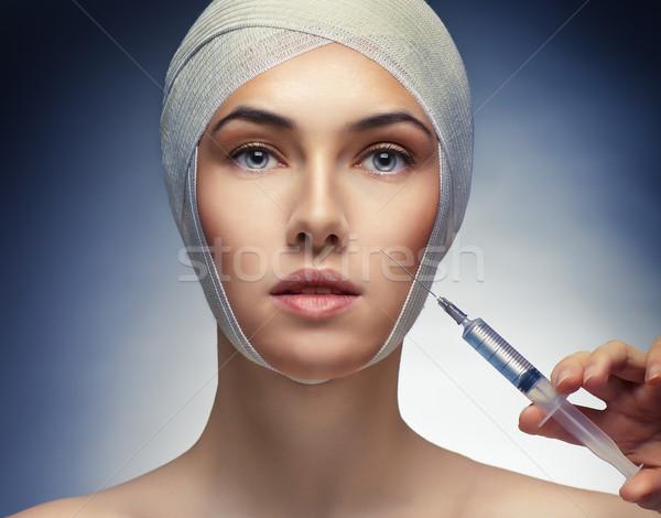 Beleza mulher mulher bonita injeção de botox saúde medicina Foto stock © choreograph