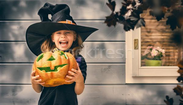 Küçük cadı açık havada mutlu halloween sevimli Stok fotoğraf © choreograph