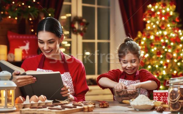 Stok fotoğraf: Pişirme · Noel · kurabiye · neşeli · mutlu · tatil