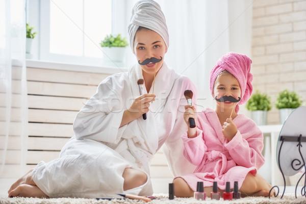 Femme fille moustache drôle famille mère Photo stock © choreograph