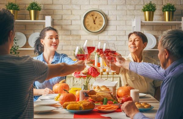 ストックフォト: 幸せ · サンクスギビングデー · 日 · 秋 · ごちそう · 家族