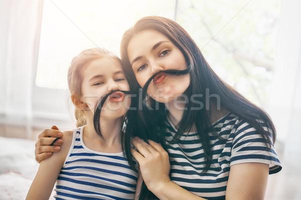 Stok fotoğraf: Anne · kız · oynama · çocuk · birlikte