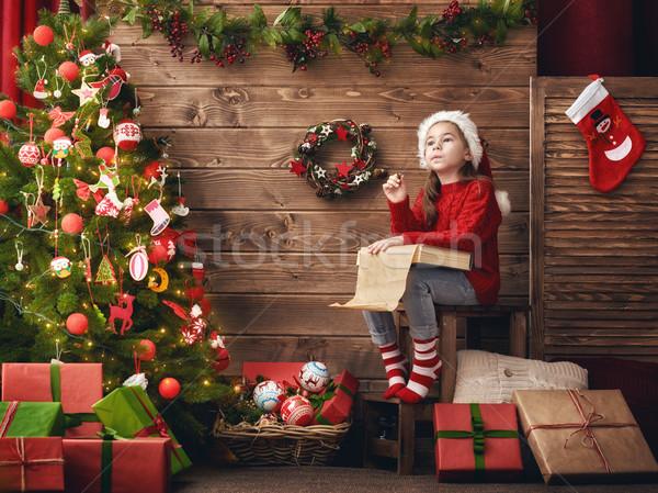 Stock fotó: Lány · levél · mikulás · vidám · karácsony · boldog