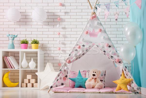Gyerekek szoba játék sátor tágas lány Stock fotó © choreograph