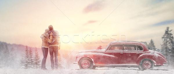 loving couple and vintage car Stock photo © choreograph