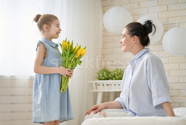 daughter congratulating mom Stock photo © choreograph