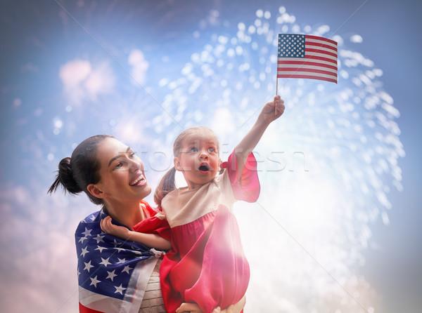 Patriotique vacances famille heureuse heureux Kid cute Photo stock © choreograph